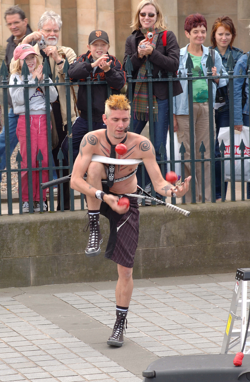 Performer outside National Gallery, the Mound, during the Edinburgh Festival