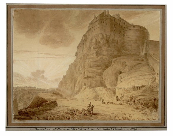 Formation of the new west road under Edinburgh Castle by James Skene