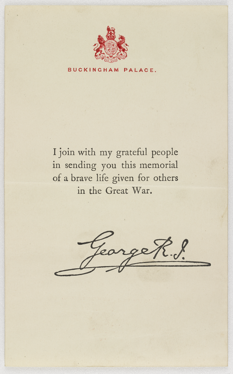 Note of thanks from King George V