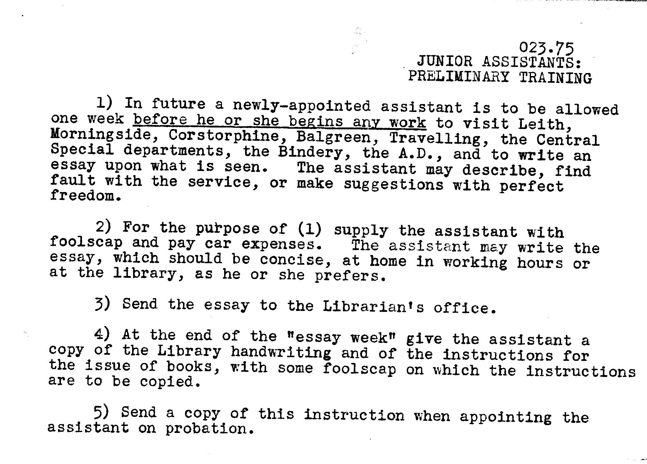instructions for library staff a trip back in time tales of and woe betide you if your essay was written in a slovenly hand
