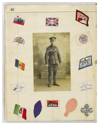 Scrapbook page: unknown soldier, stickers & scraps