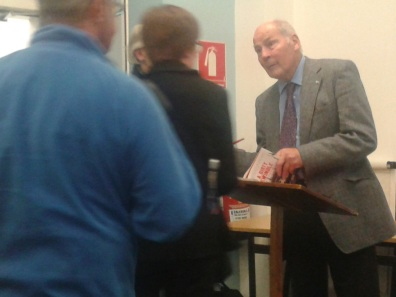 Walter Stephen signing copies of 'A Dirty Swindle'