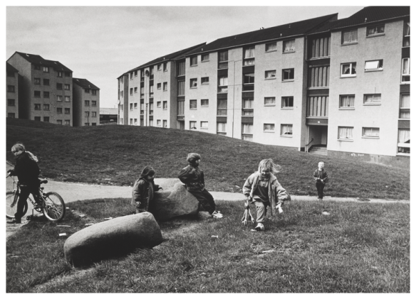 Children playing in front of housing, Wester Hailes