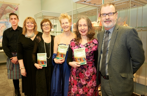 left to right: Pedro Santiago Garcia Rubio (G&V Royal Mile), Lindsey Sibbald, models Annie Bell and Gilly Dennis, Bronwen Brown (Edinburgh Libraries) and Councillor Gavin Barrie