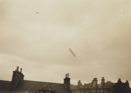 R 101 Airship over Edinburgh rooftops