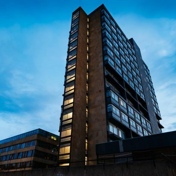 David Hume Tower in twilight