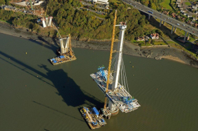 Aerial view of North Tower and North Approach Piers, Queensferry Crossing, October 2015