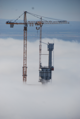 Centre Tower above the clouds, Queensferry Crossing, October 2015