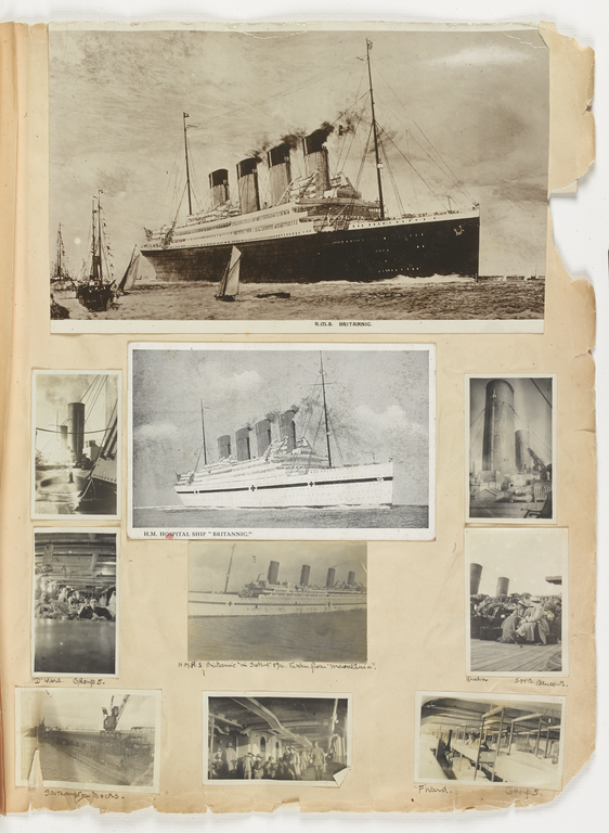HMHS Britannic - page from Sheila Macbeth Mitchell scrapbook