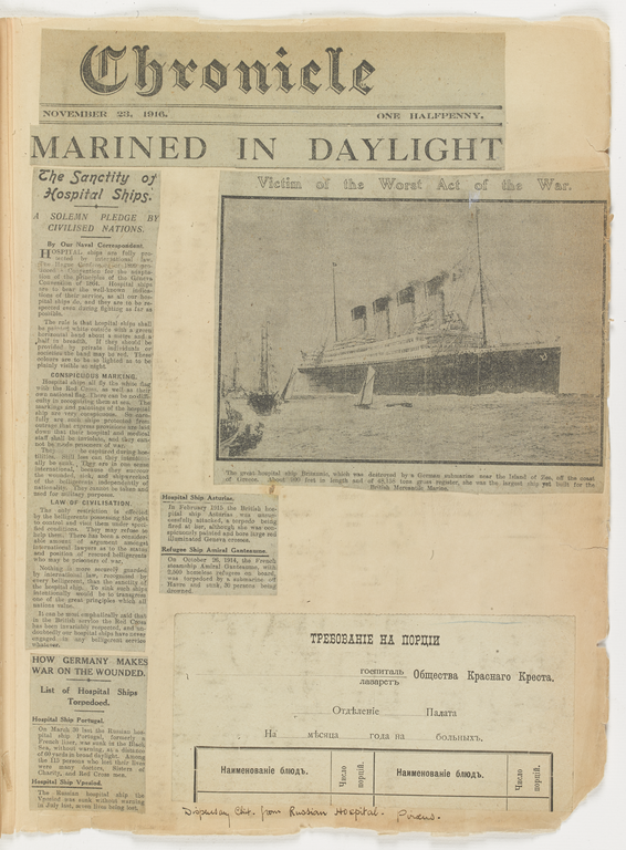 Newspaper clippings showing coverage of the Britannic sinking