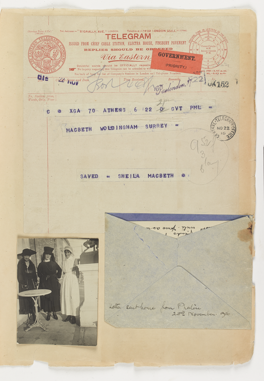 Telegram sent from Athens with message 'SAVED - SHEILA MACBETH'