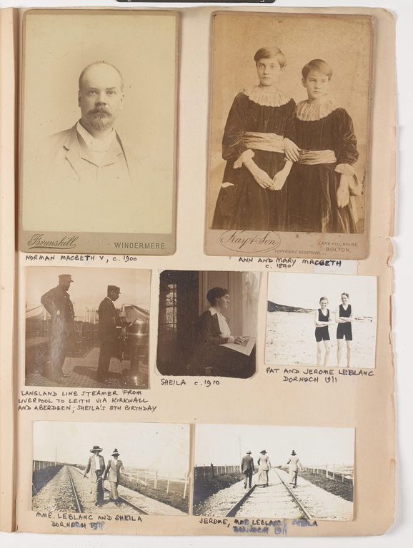 Page of family photos from Sheila Macbeth Mitchell's scrapbook