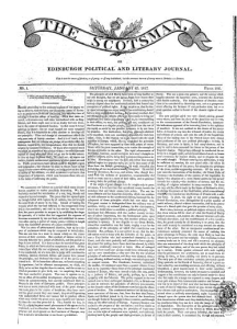 Front page of The Scotsman 25th January 1817