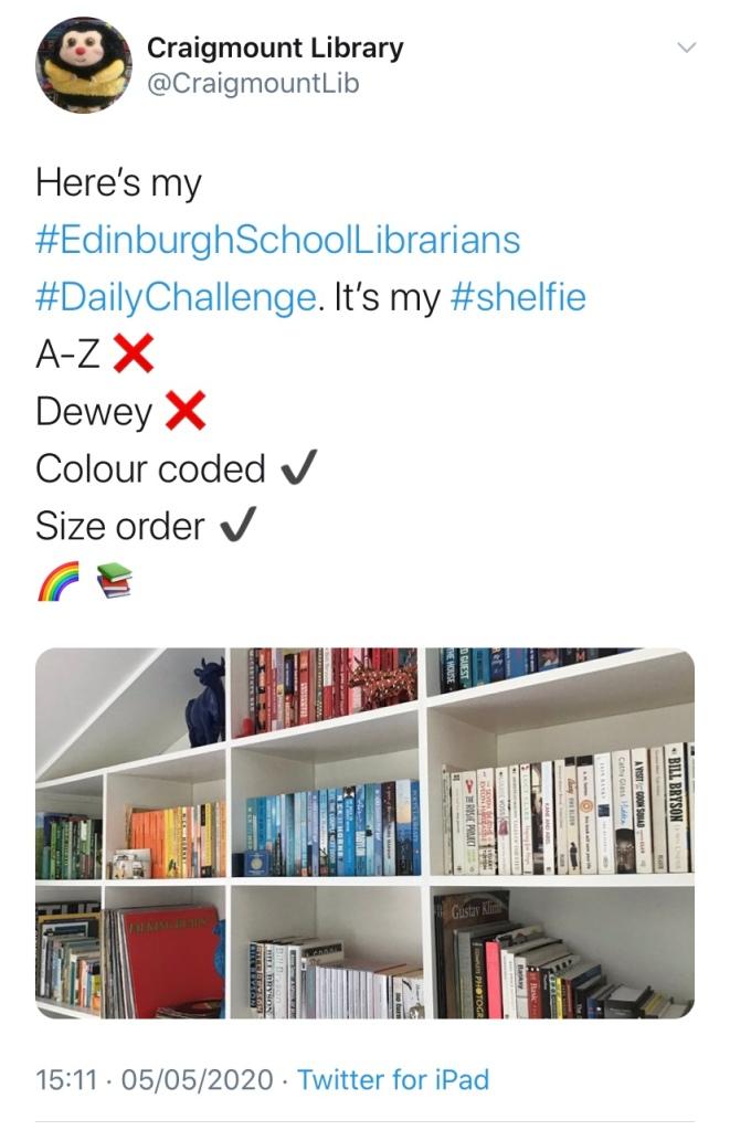 Twitter post from Edinburgh School Librarians