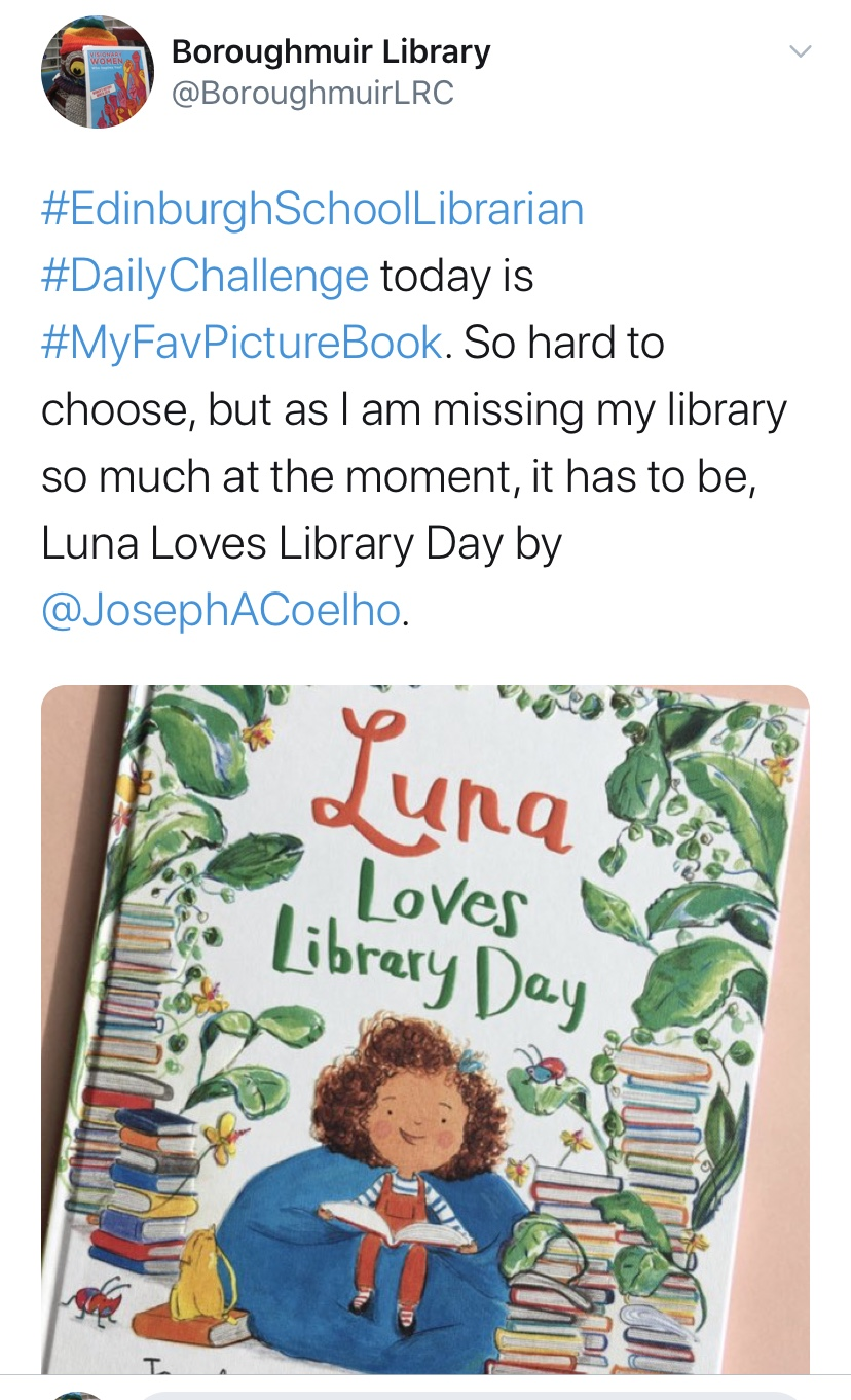 twitter post about book choices
