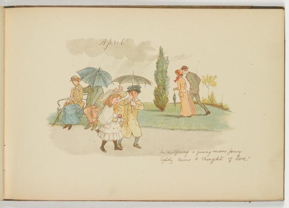 Couples walking under umbrellas in a rain shower