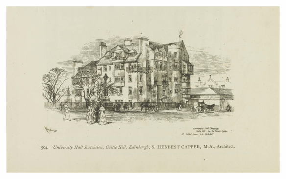 Drawing of University hall extension at Castle Hill