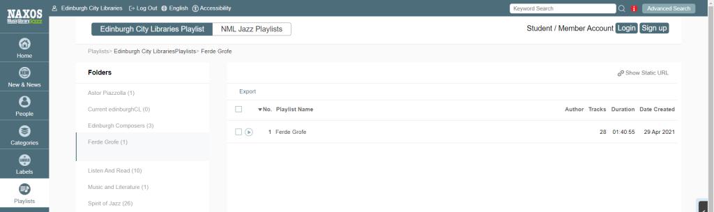 Screenshot of Ferde Grofe playlist on Naxos Jazz Music Library